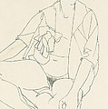 Seated Female Nude With Open Blouse by Egon Schiele