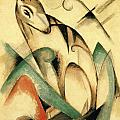 Seated Mythical Animal 1913 by Franz Marc