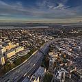 Seattle And Rainier Golden Light by Mike Reid