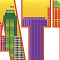 Seattle City Skyline Text Outline Color Illustration by Jit Lim