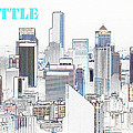 Seattle City With Print by David Lee Thompson