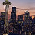 Seattle Cityscape Morning Light by Mike Reid