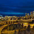 Seattle Downtown Skyline And Freeway At Twilight by Jit Lim