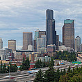 Seattle Downtown Skyline On A Cloudy Day by Jit Lim