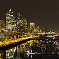 Seattle Downtown Waterfront Skyline At Night Reflection by Jit Lim