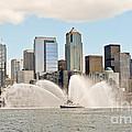Seattle Downtown With Fireboat by Tisha Clinkenbeard
