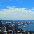 Seattle Harbor And Mt Rainier From Space Needle by Judy Wanamaker