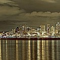 Seattle Lights At Night From Alki by SC Heffner