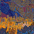 Seattle Skyline Abstract 4 by Bekim Art