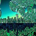Seattle Skyline Abstract by Bekim Art