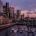 Seattle Skyline Bell Harbor Dusk by Mike Reid