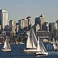 Seattle Skyline With Sailboats by Jim Corwin