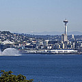 Seattle Space Needle And Fire Boat by Ron Roberts