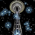 Seattle Space Needle Blue Stars by Chalet Roome-Rigdon