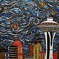 Seattle Starry Night by Mary Ellen Bowers