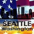 Seattle Wa Patriotic Large Cityscape by Angelina Tamez