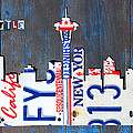 Seattle Washington Space Needle Skyline License Plate Art By Design Turnpike by Design Turnpike