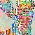 Seattle Washington Street Map by Michael Tompsett