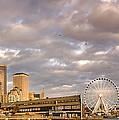 Seattle Waterfront Bathed In Golden Hour - Seattle Skyline - Puget Sound Washington State by Silvio Ligutti