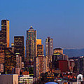Seattle Winter Evening Panorama by Inge Johnsson