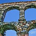 Segovia Aqueducts Blue By Diana Sainz by Diana Raquel Sainz