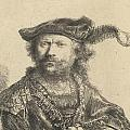 Self Portrait In A Velvet Cap With Plume by Rembrandt