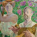 Self-portrait With Muse And Buddleia by Jacek Malczewski