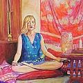 Self Portriat Meditating With Tarot by Carola Joyce