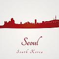 Seoul Skyline In Red by Pablo Romero
