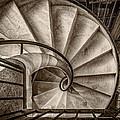 Sepia Spiral Staircase by Roberto Pagani