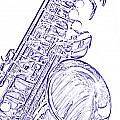Sepia Tone Drawing Of A Tenor Saxophone 3356.03 by M K  Miller