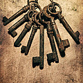 Set Of Old Rusty Keys On The Metal Surface by Jaroslaw Blaminsky