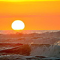Setting Sun And Crashing Waves by AJ  Schibig