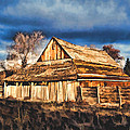 Setting Sun Gathering Storm And Old Homestead by Elaine Plesser