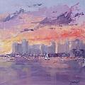 Setting Sun Over Boston  by Laura Lee Zanghetti