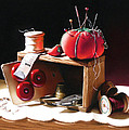 Sewing Box In Reds by Dianna Ponting