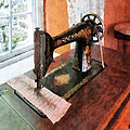 Sewing Machine Near Lace Curtain by Susan Savad