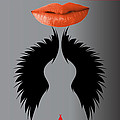 Sexy Lady Bird Lips Red White Black Expressions by Sirron Kyles