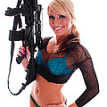 Sexy Woman Holding An Ar15 by Jt PhotoDesign
