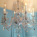 Shabby Chic Cottage Sparkling White Crystal Chandelier Photo - Dreamy Parisian Crystal Chandelier  by Kathy Fornal