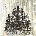 Shabby Chic Rustic Black Chandelier On White Washed Wood by Suzanne Powers