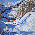 Shadow of a fir tree and skiers at Tignes by Andrew Macara