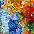 Sharing Love On A Rainy Evening Original Palette Knife Painting by Georgeta Blanaru