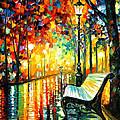 She Left... - Palette Knife Oil Painting On Canvas By Leonid Afremov by Leonid Afremov