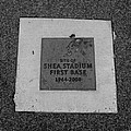 Shea Stadium First Base In Black And White by Rob Hans