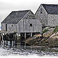 Sheds At Peggys Cove by Gene Norris