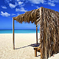 Shelter On A White Sandy Caribbean Beach With A Blue Sky And White Clouds by David Letts