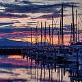 Shilshole Olympic Mountains Sunset by Mike Reid