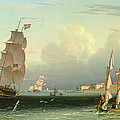 Ship Going Out, Fort Independence by Robert Salmon