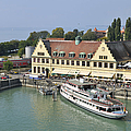 Ship In The Lindau Harbor Lake Constance Germany by Matthias Hauser